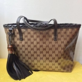 gucci beige gg crystal canvas bamboo tassel tote