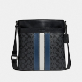 26068 charles crossbody in signature canvas with varsity stripe