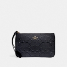 30248 large wristlet in signature leather