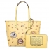 29359 reversible city zip tote with floral mix print and minnie mouse patches
