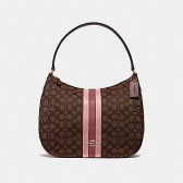 39042 zip shoulder bag in signature jacquard with stripe