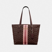 39043 zip top tote in signature jacquard with stripe