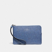 67584 crossgrain leather corner zip wristlet