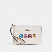 73449 corner zip wristlet with ms. pac-man