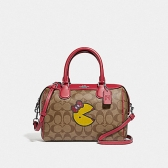 73670 mini bennett satchel in signature canvas with ms. pac-man