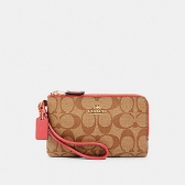 87591 signature double corner zip wristlet