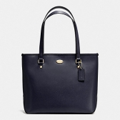 35204 crossgrain leather zip top tote