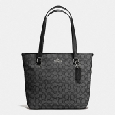 58282 outline signature zip top tote