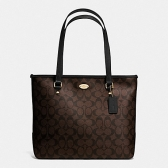 58294 zip top tote in signature