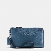 64130 pebble leather double corner zip wristlet