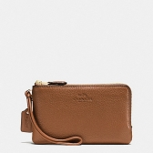 66505 pebble leather double corner zip wristlet