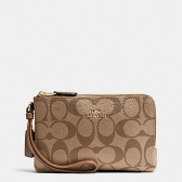 66506 signature double corner zip wristlet