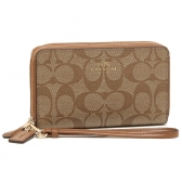 53937 double zip phone wallet in signature
