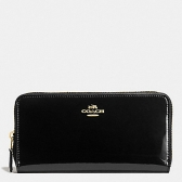 55734 boxed smooth patent leather accordion zip wallet