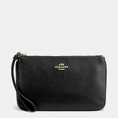 57465 crossgrain leather large wristlet