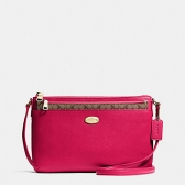 57788 crossgrain leather east/west crossbody with pop up pouch