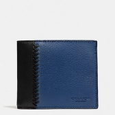75170 baseball stitch leather compact id wallet