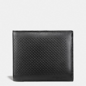 75197 compact id wallet in perforated leather