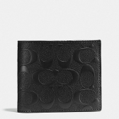 75371 signature crossgrain leather compact id wallet