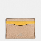 86927 flat card case in colorblock crossgrain leather  silver/beechwood