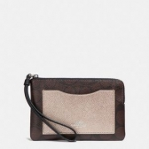 22713 corner zip wristlet with metallic colorblock