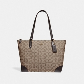 29958 zip top tote in signature jacquard