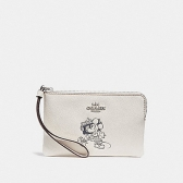 30004 corner zip wristlet with minnie mouse motif