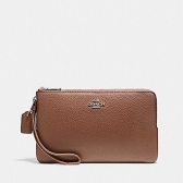 87587 double zip wallet in polished pebble leather