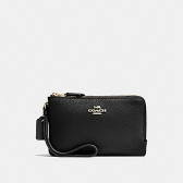 87590 pebble leather double corner zip wristlet